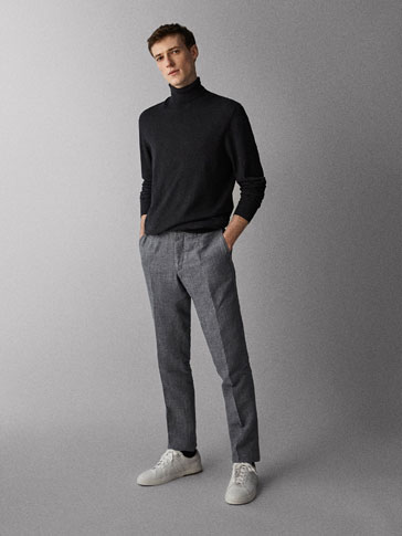 LINNEN/KATOENEN CHINO BROEK CASUAL FIT