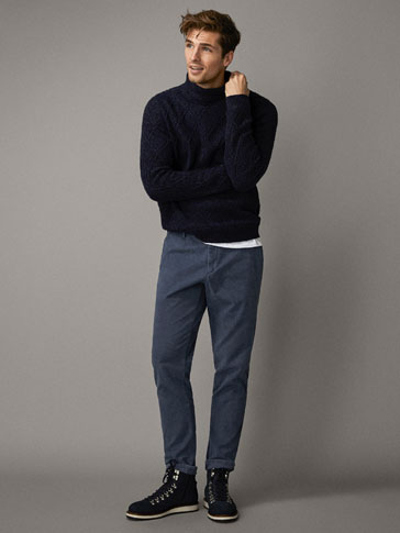 SLIM FIT FADED MOLESKIN CHINO TROUSERS