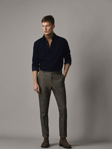 SLIM FIT HOUNDSTOOTH PRINT TROUSERS WITH BUTTONS