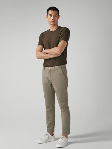 SLIM FIT STRIPED CHINO TROUSERS