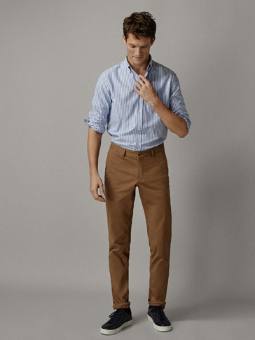 PIED-DE-POULE CHINO BROEK SLIM FIT