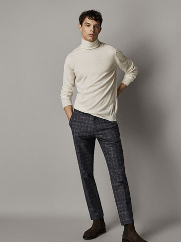 Pantalon Chino Carreaux Bleu Marine Coupe Slim by Massimo Dutti