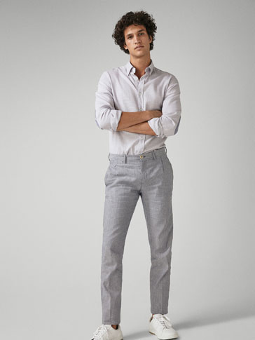 CASUAL FIT PINSTRIPED COTTON/LINEN TROUSERS