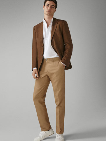 CASUAL FIT HEATHERED CHINOS