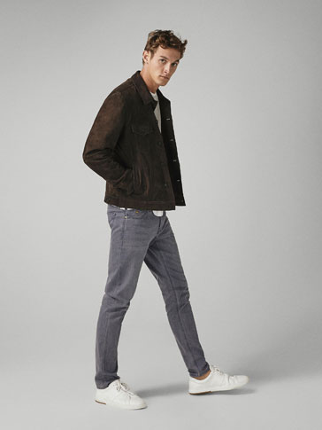PANTALONI SLIM FIT DECOLORAȚI DIN DENIM