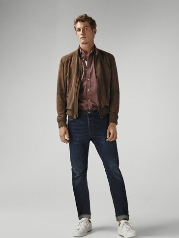 JEANS MED SLIDT LOOK - SLIM FIT