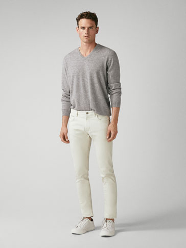 EXTRA SLIM FIT TEXTURED BROKEN TWILL DENIM-EFFECT TROUSERS