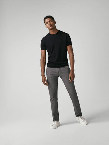 SLIM FIT COTTON TROUSERS WITH CHECK-TEXTURED WEAVE