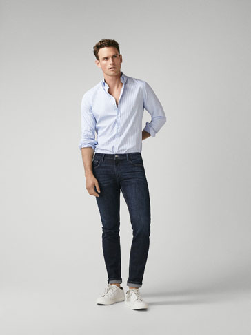 EXTRA SLIM FIT COTTON DENIM TROUSERS