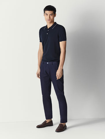 SLIM FIT TRICOTINE DENIM-EFFECT COTTON TROUSERS