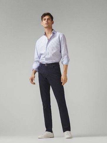 JEANS MED FLANNEL LOOK - SLIM FIT