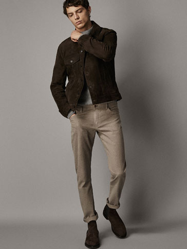 SLIM FIT DENIM-LIKE TROUSERS WITH FLANNEL FINISH