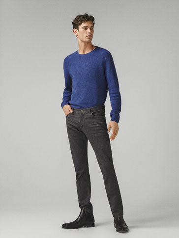 PANTALON TYPE JEAN FINITION FLANELLE SLIM FIT