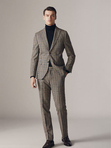 Slim Fit Check Wool/Cotton Trousers by Massimo Dutti