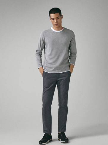 SLIM FIT TEXTURED WEAVE COTTON TROUSERS