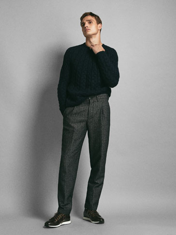 LIMITED EDITION SLIM FIT HERRINGBONE WOOL TROUSERS