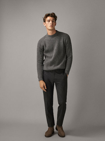 SLIM FIT WOOL/COTTON TROUSERS