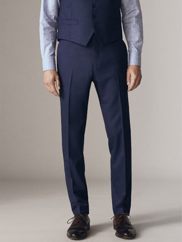 PERSONAL TAILORING CITY SLIM FIT MOULINÉ WOOL TROUSERS