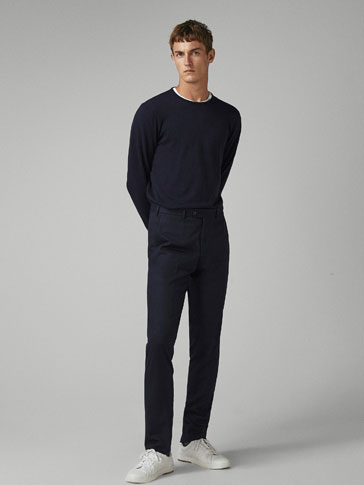 SLIM FIT WOOL FLANNEL TROUSERS
