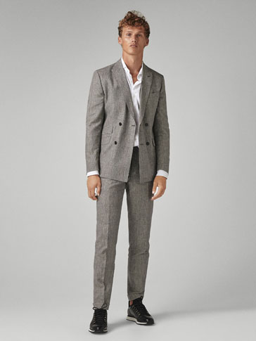 SLIM FIT CHECKED WOOL/LINEN SUIT TROUSERS