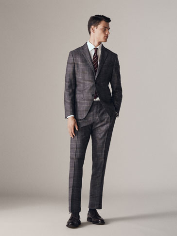 SLIM FIT WINDOW PANE CHECK WOOL TROUSERS