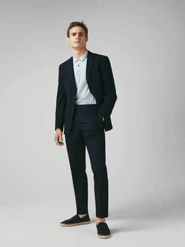 SLIM FIT NAVY BLUE WORSTED WOOL TROUSERS