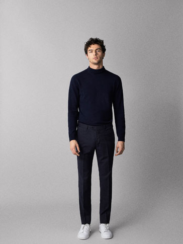 TRAVELSUIT SLIM FIT STRIPED WOOL TROUSERS