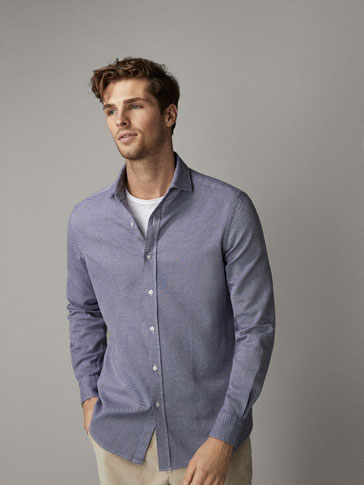 SLIM FIT TEXTURED NAVY COTTON SHIRT