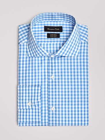 SLIM FIT EASY IRON GINGHAM COTTON SHIRT