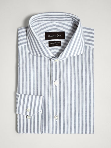 SLIM FIT STRIPED SLUB KNIT SHIRT