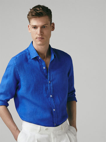 SLIM FIT DYED LINEN SHIRT