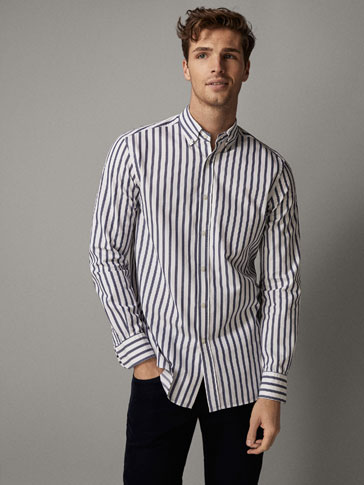 REGULAR FIT STRIPED TWILL SHIRT