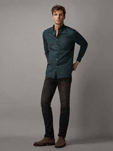 Slim Fit Dyed Gaberdine Shirt by Massimo Dutti
