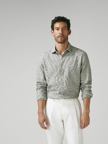EXTRA SLIM FIT COTTON SHIRT WITH A CHECK-TEXTURED WEAVE