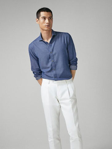 SLIM FIT COTTON/LYOCELL DENIM SHIRT