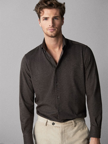 LIMITED EDITION TWO-TONE SLIM FIT KNIT SHIRT