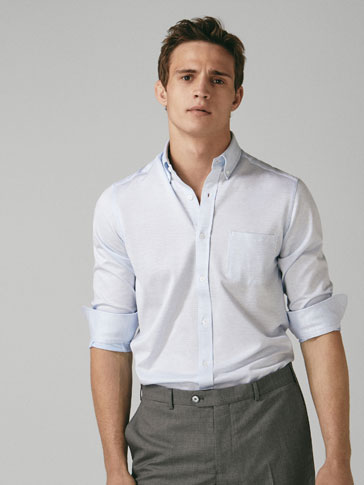 REGULAR FIT KNIT SHIRT WITH MESH-LIKE WEAVE