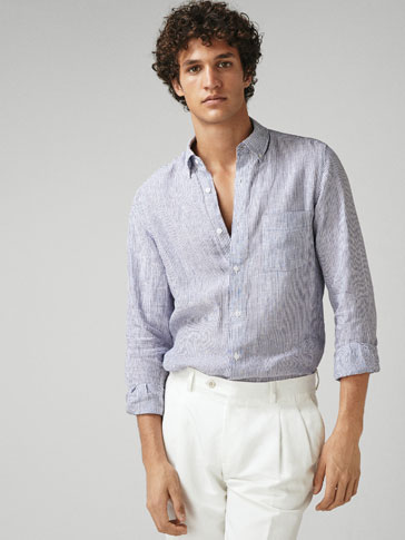 CAMICIA 100% LINO A RIGHE SLIM FIT