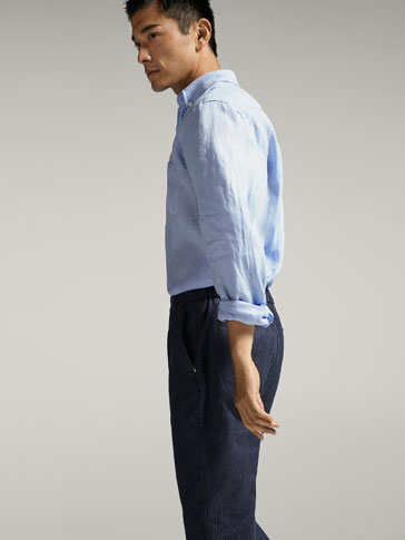 PLAIN CASUAL FIT LINEN SHIRT