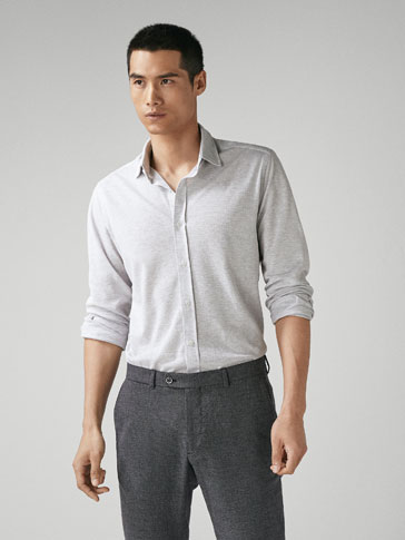 REGULAR FIT TEXTURED KNIT SHIRT