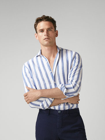 SLIM FIT STRIPED LINEN/COTTON SHIRT