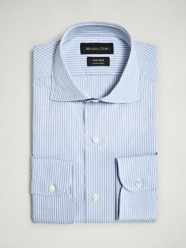 TAILORED FIT EASY IRON STRIPED COTTON SHIRT