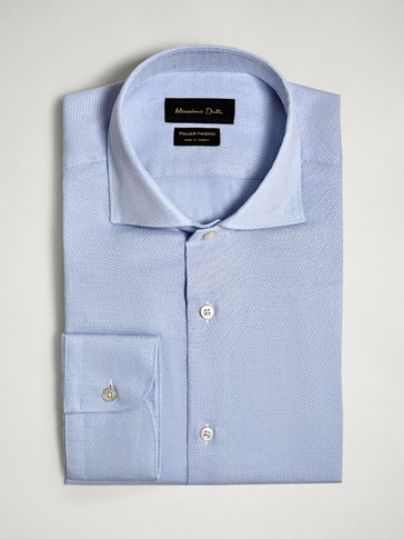 TAILORED FIT TEXTURED COTTON SHIRT