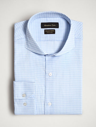 SLIM FIT STRIPED TEXTURED COTTON SHIRT