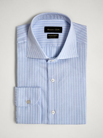 TAILORED FIT STRIPED TEXTURED COTTON SHIRT