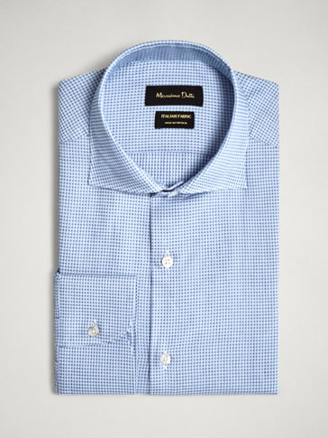 TAILORED FIT JACQUARD COTTON SHIRT