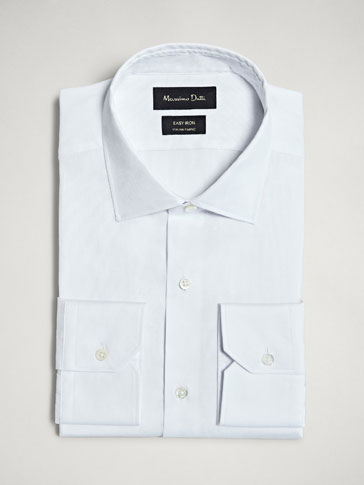 SLIM FIT EASY IRON JACQUARD COTTON SHIRT