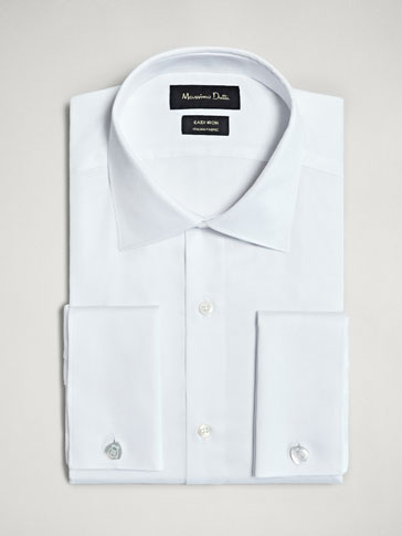 TAILORED FIT EASY IRON TEXTURED WEAVE COTTON SHIRT