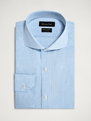 SLIM FIT SLUB KNIT MICRO-CHECKED COTTON SHIRT