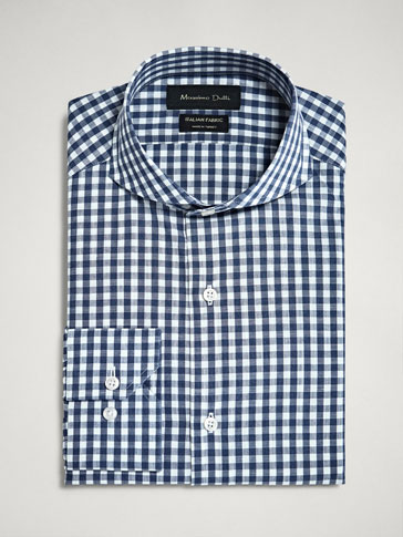 SLIM FIT GINGHAM SLUB KNIT SHIRT